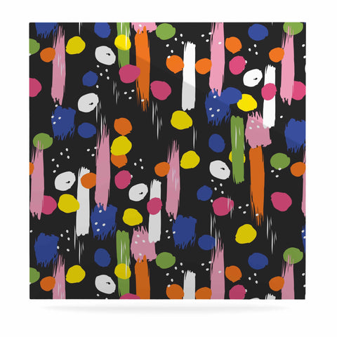 "Neelam Kaur ""Brushstrokes - Pantone Rev It Up"" Black Multicolor Illustration Luxe Square Panel"