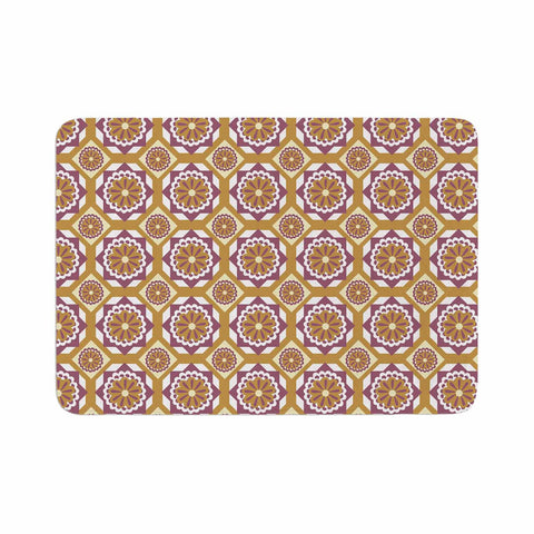 "Neelam Kaur ""Purple Gold Floral Octagons"" Gold Lavender Illustration Memory Foam Bath Mat"