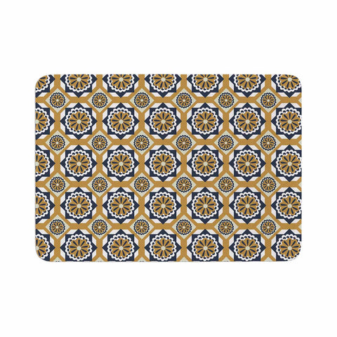 "Neelam Kaur ""Blue Floral Octagons"" Gold Gray Illustration Memory Foam Bath Mat"