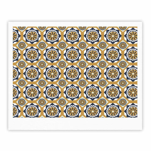 "Neelam Kaur ""Blue Floral Octagons"" Gold Gray Illustration Fine Art Gallery Print"