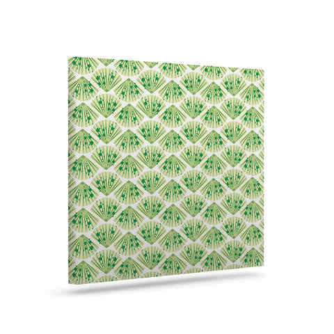 "Neelam Kaur ""Floral Fans"" Green White Digital Canvas Art"