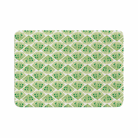"Neelam Kaur ""Floral Fans"" Green White Digital Memory Foam Bath Mat"