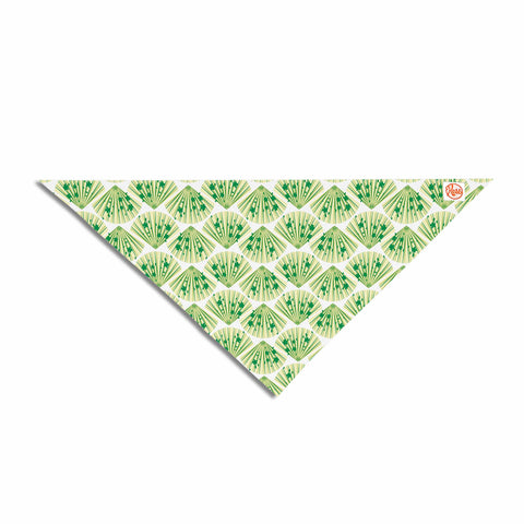 "Neelam Kaur ""Floral Fans"" Green White Digital Pet Bandana"