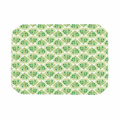 "Neelam Kaur ""Floral Fans"" Green White Digital Place Mat"