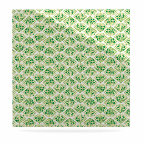 "Neelam Kaur ""Floral Fans"" Green White Digital Luxe Square Panel"
