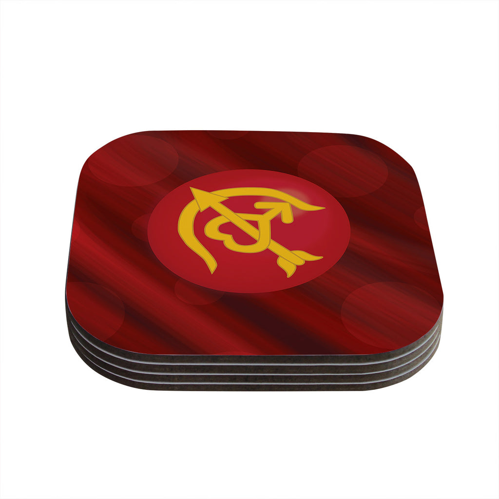 "NL Designs ""Mars"" Red Marsala Coasters (Set of 4)"