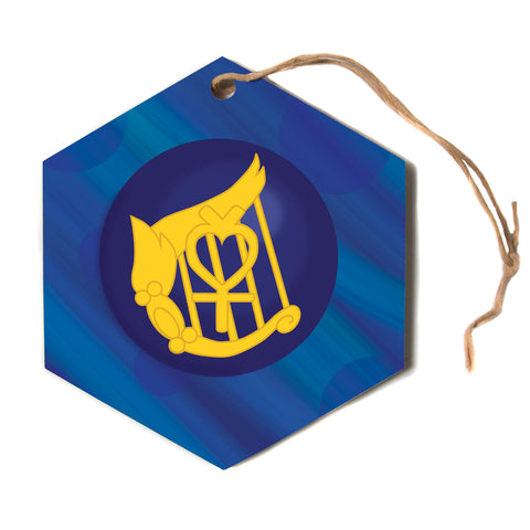 "NL designs ""Mercury"" Blue Navy Hexagon Holiday Ornament"