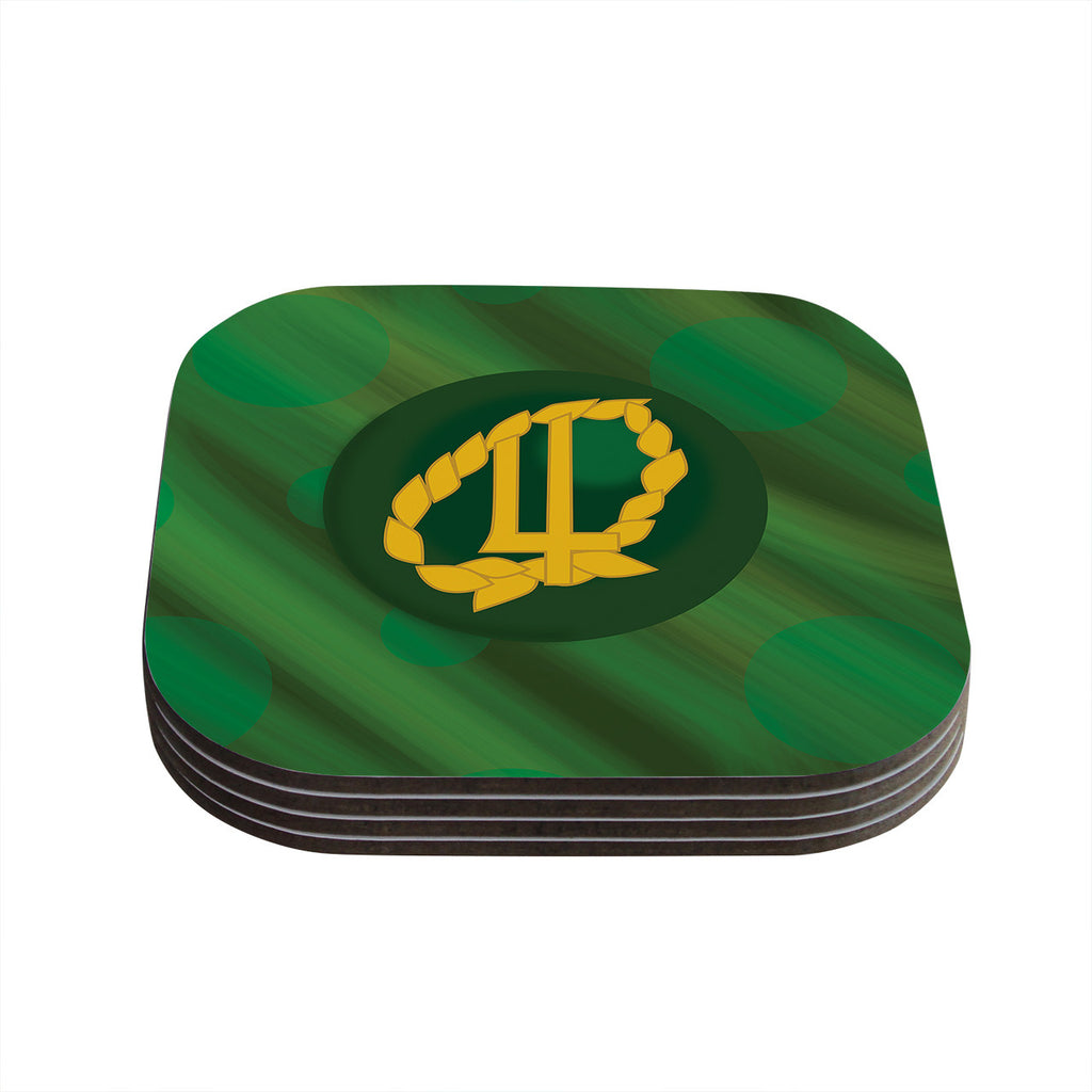 "NL Designs ""Jupiter"" Green Emerald Coasters (Set of 4)"