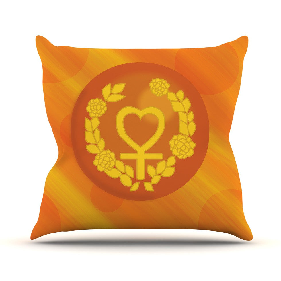"NL Designs ""Venus"" Orange Yellow Outdoor Throw Pillow - KESS InHouse  - 1"