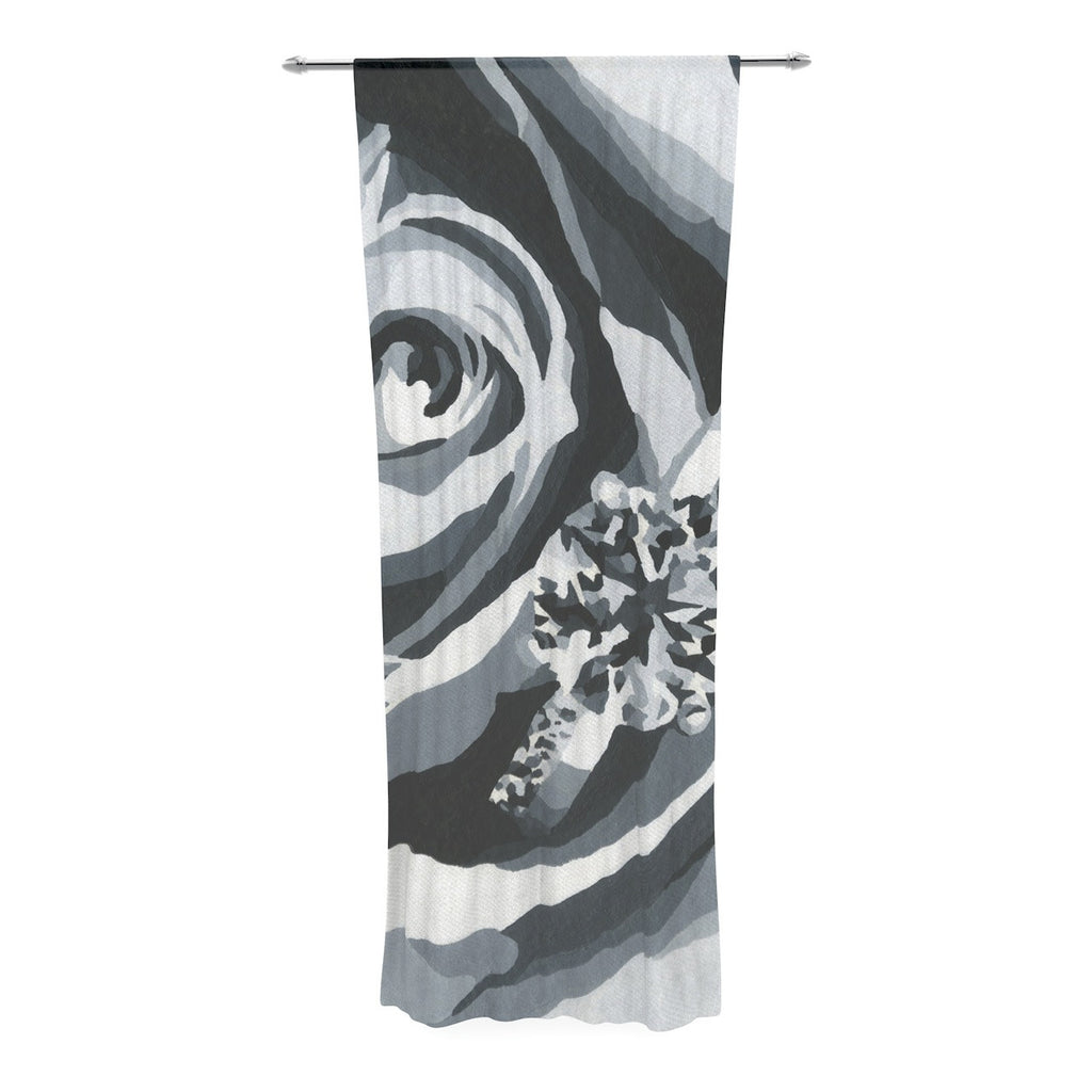 "NL Designs ""Happy Engagement"" Gray White Decorative Sheer Curtain - KESS InHouse  - 1"