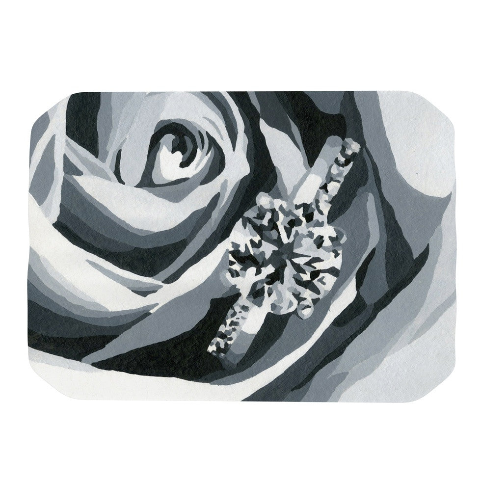 "NL Designs ""Happy Engagement"" Gray White Place Mat - KESS InHouse"
