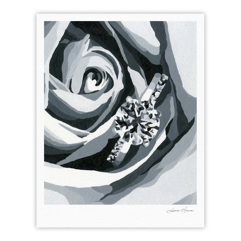 "NL Designs ""Happy Engagement"" Gray White Fine Art Gallery Print - KESS InHouse"