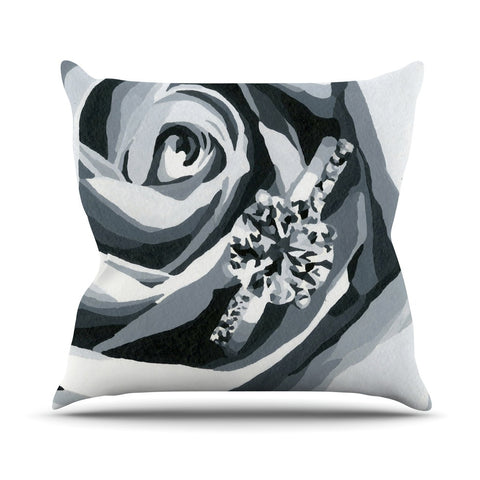 "NL Designs ""Happy Engagement"" Gray White Outdoor Throw Pillow - KESS InHouse  - 1"