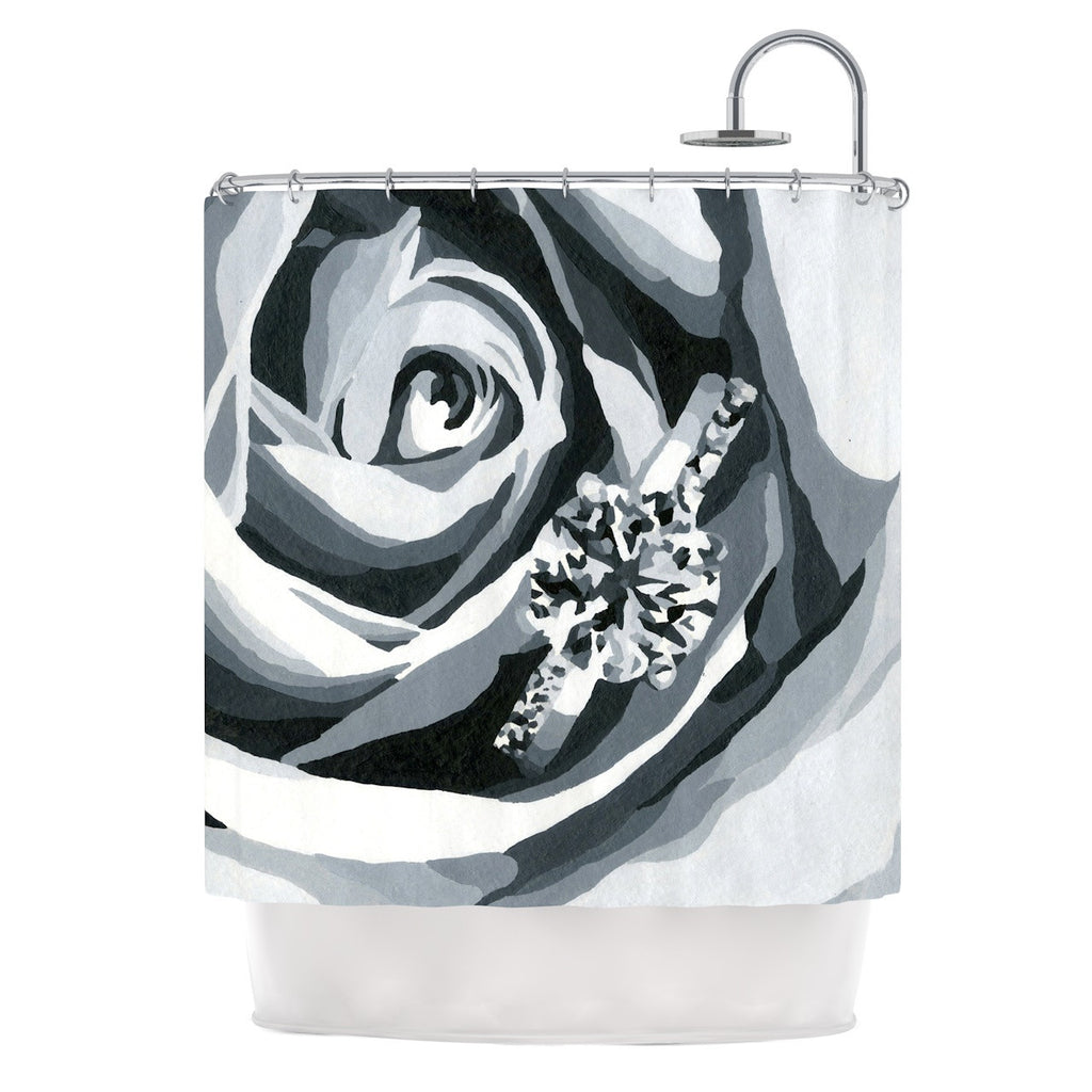 "NL Designs ""Happy Engagement"" Gray White Shower Curtain - KESS InHouse"