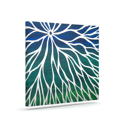 "NL Designs ""Ocean Flower"" Teal Green Canvas Art - Outlet Item"