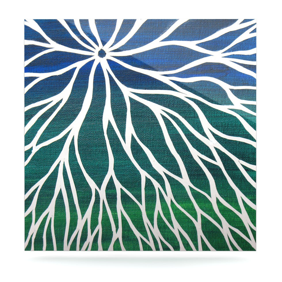 "NL Designs ""Ocean Flower"" Teal Green Luxe Square Panel - KESS InHouse  - 1"
