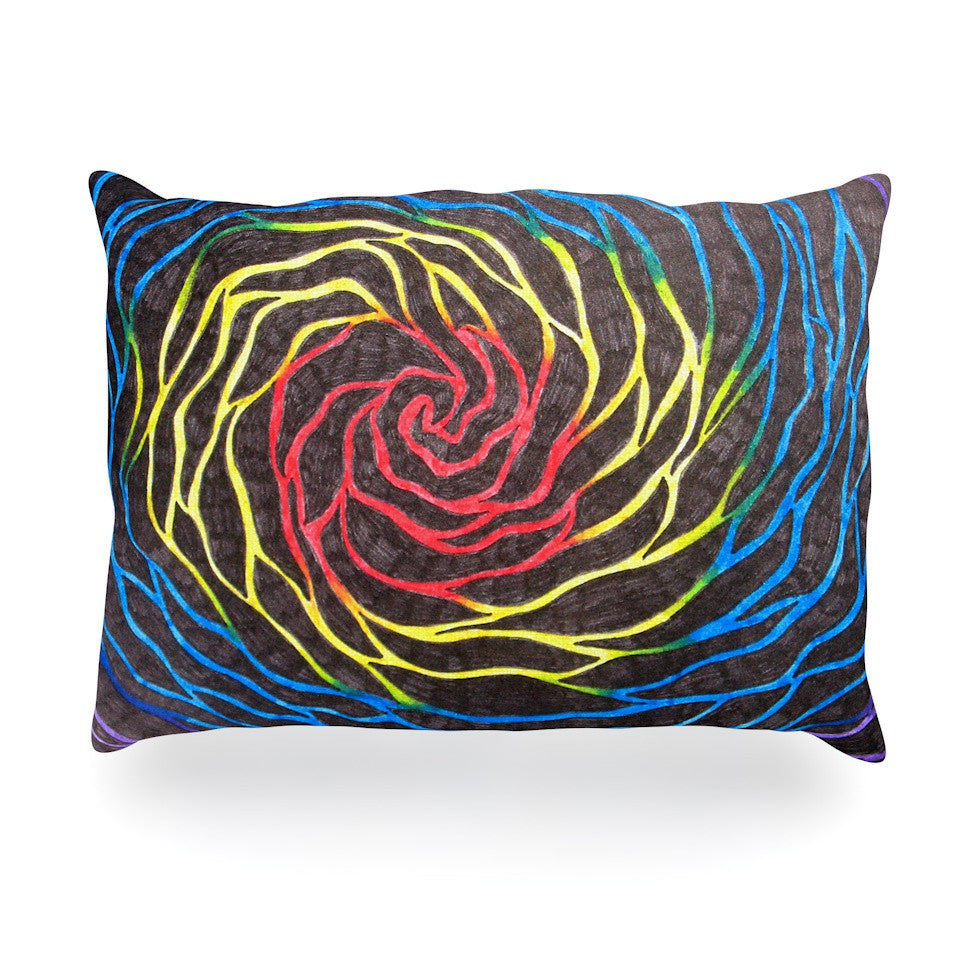 "NL Designs ""Rainbow Vortex"" Multicolor Illustration Oblong Pillow - KESS InHouse"