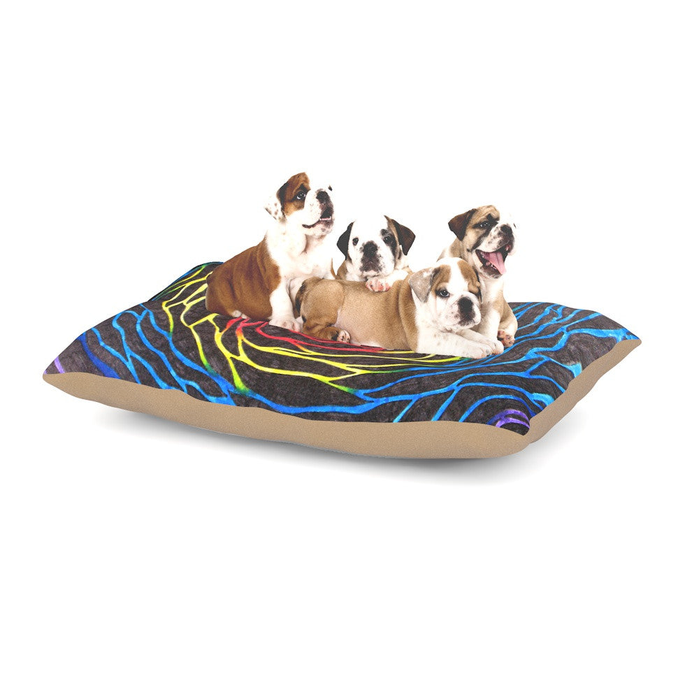 "NL Designs ""Rainbow Vortex"" Multicolor Illustration Dog Bed - KESS InHouse  - 1"