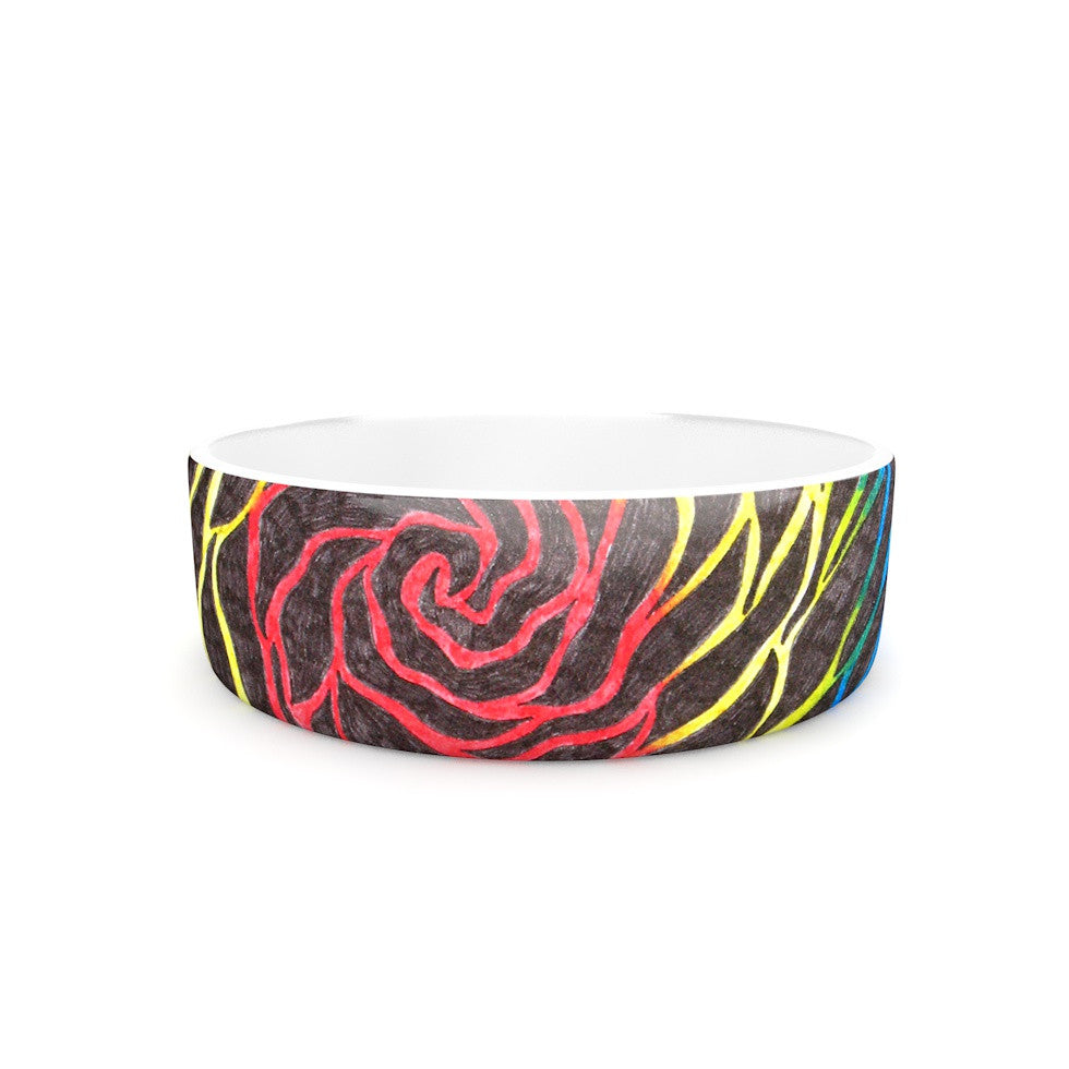 "NL Designs ""Rainbow Vortex"" Multicolor Illustration Pet Bowl - KESS InHouse"