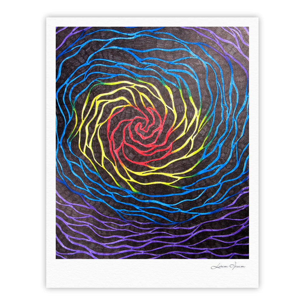 "NL Designs ""Rainbow Vortex"" Multicolor Illustration Fine Art Gallery Print - KESS InHouse"