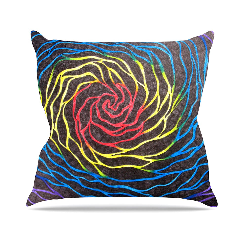 "NL Designs ""Rainbow Vortex"" Multicolor Illustration Outdoor Throw Pillow - KESS InHouse  - 1"