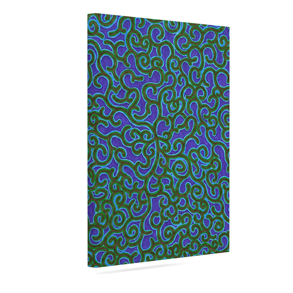 "NL Designs ""Swirling Vines"" Blue Green Canvas Art - KESS InHouse  - 1"