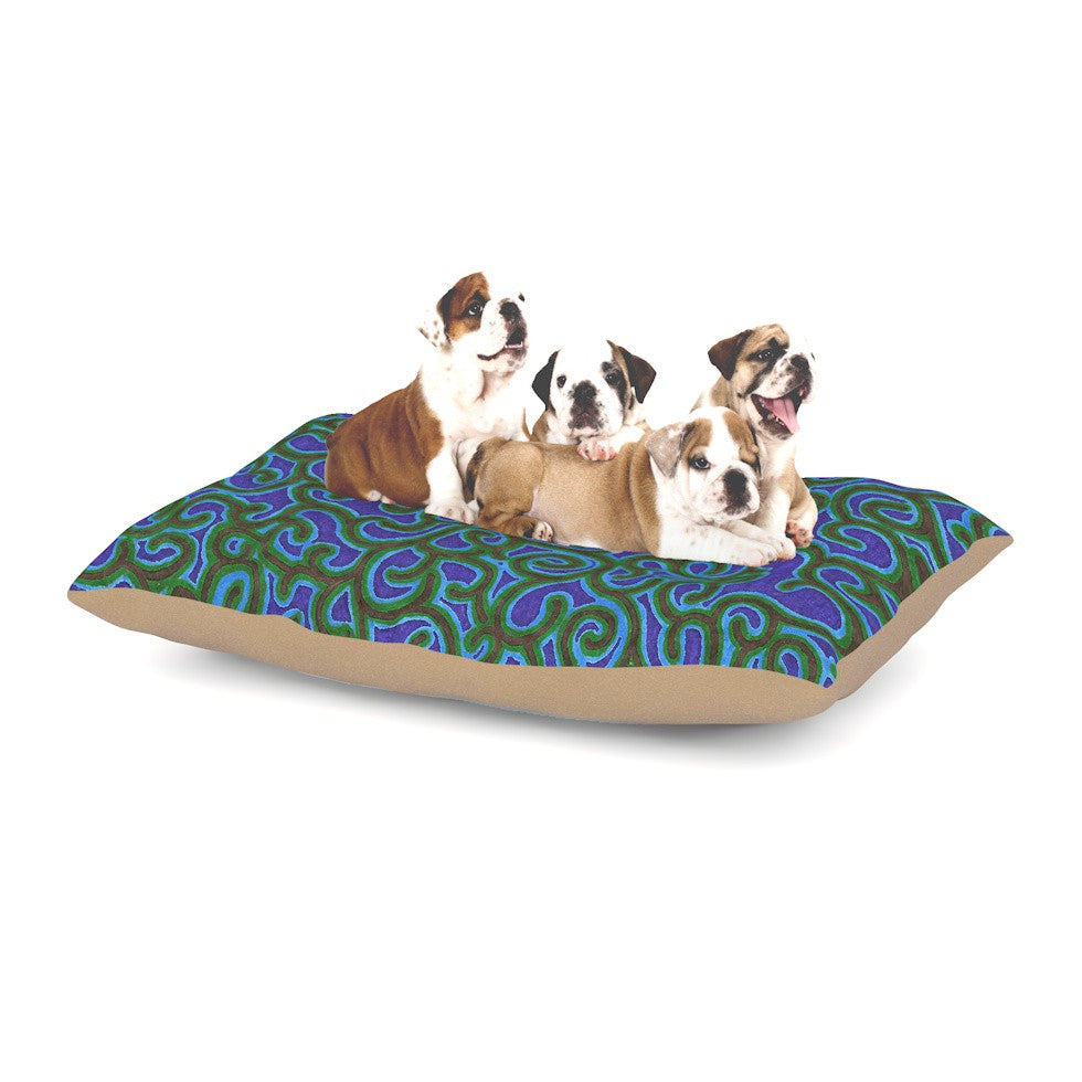 "NL Designs ""Swirling Vines"" Blue Green Dog Bed - KESS InHouse  - 1"