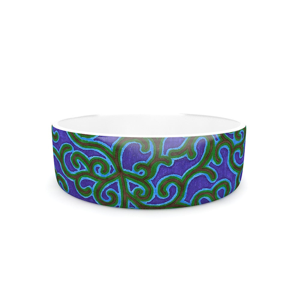 "NL Designs ""Swirling Vines"" Blue Green Pet Bowl - KESS InHouse"