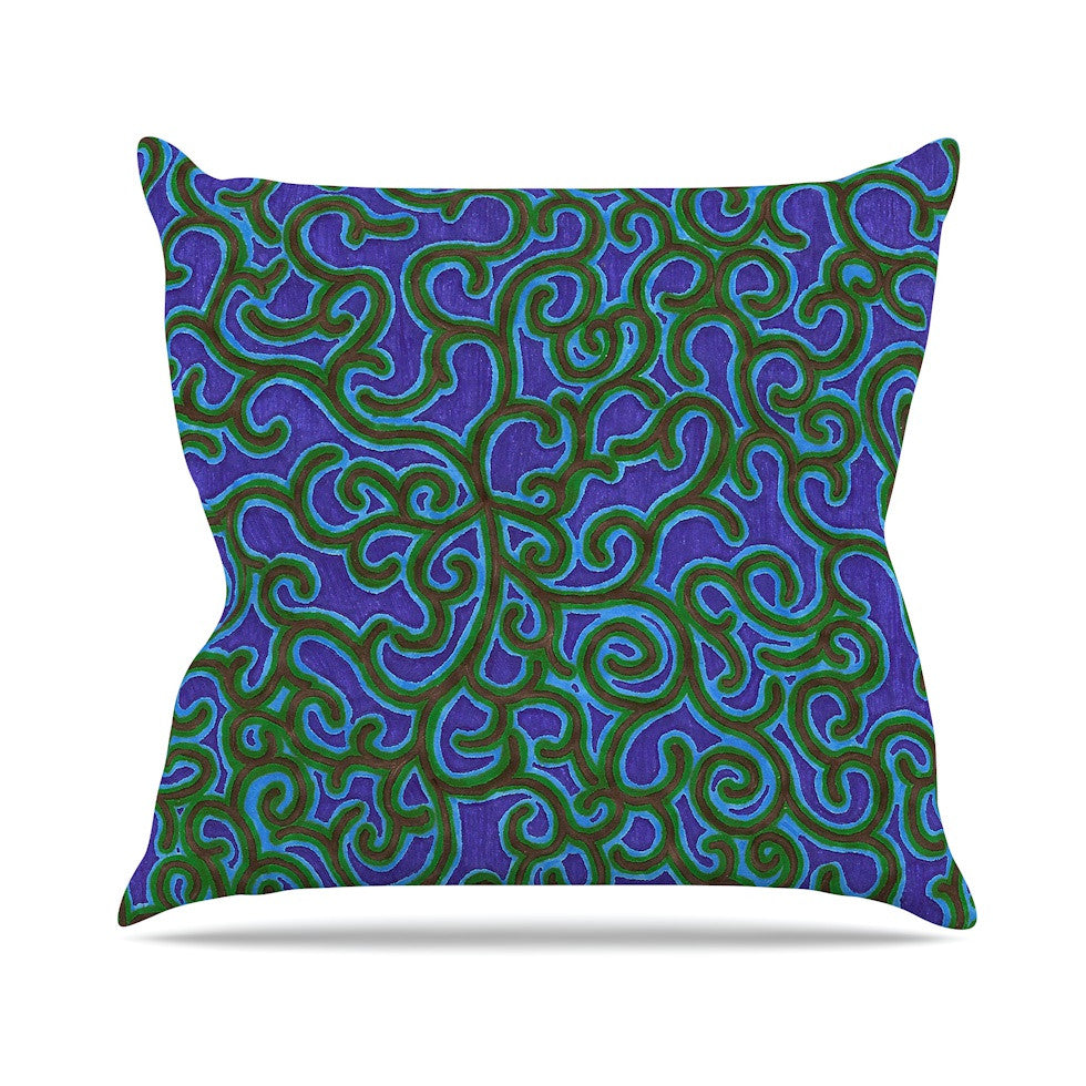 "NL Designs ""Swirling Vines"" Blue Green Outdoor Throw Pillow - KESS InHouse  - 1"