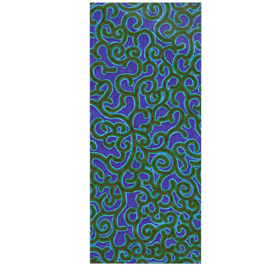 "NL Designs ""Swirling Vines"" Blue Green Luxe Rectangle Panel - KESS InHouse  - 1"
