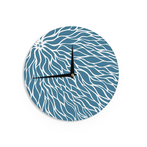 "NL Designs ""Swirls Teal"" Blue Teal Wall Clock - KESS InHouse"