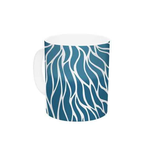 "NL Designs ""Swirls Teal"" Blue Teal Ceramic Coffee Mug - KESS InHouse  - 1"