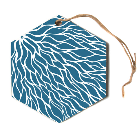 "NL designs ""Swirls Teal"" Blue Teal Hexagon Holiday Ornament"
