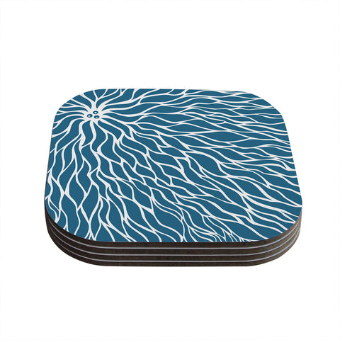 "NL Designs ""Swirls Teal"" Blue Teal Coasters (Set of 4)"