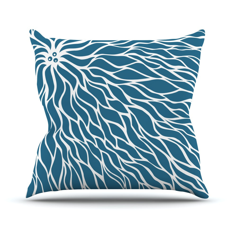 "NL Designs ""Swirls Teal"" Blue Teal Outdoor Throw Pillow - KESS InHouse  - 1"