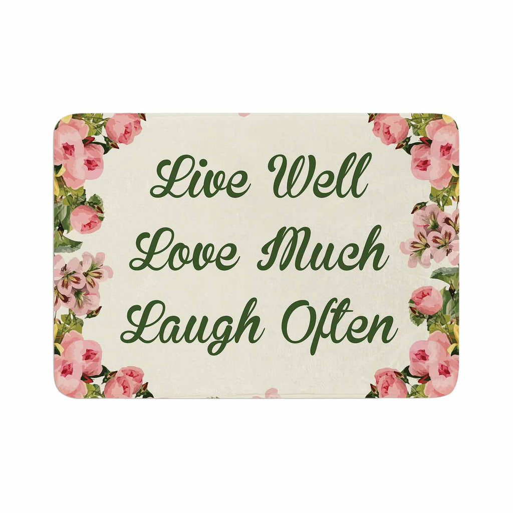 "NL Designs ""Live, Love, Laugh"" Floral Typography Memory Foam Bath Mat - KESS InHouse"