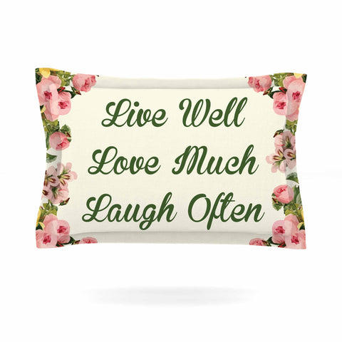 "NL Designs ""Live, Love, Laugh"" Floral Typography Pillow Sham - KESS InHouse  - 1"