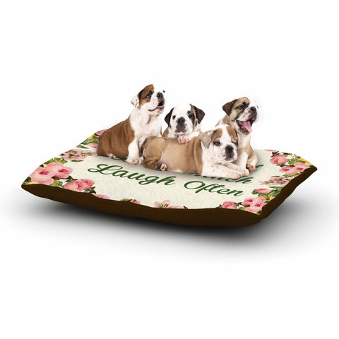 "NL Designs ""Live, Love, Laugh"" Floral Typography Dog Bed - KESS InHouse  - 1"