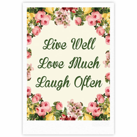 "NL Designs ""Live, Love, Laugh"" Floral Typography Fine Art Gallery Print - KESS InHouse"