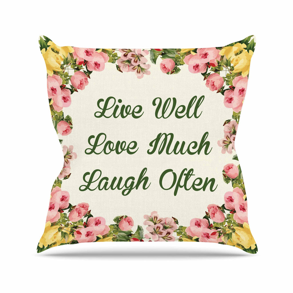 "NL Designs ""Live, Love, Laugh"" Floral Typography Throw Pillow - KESS InHouse  - 1"