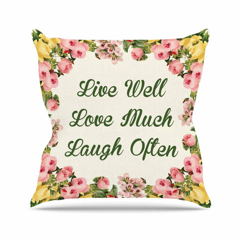 "NL Designs ""Live, Love, Laugh"" Floral Typography Outdoor Throw Pillow - KESS InHouse  - 1"