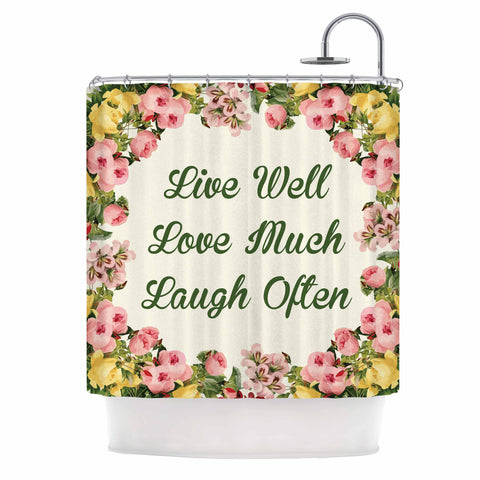 "NL Designs ""Live, Love, Laugh"" Floral Typography Shower Curtain - KESS InHouse"