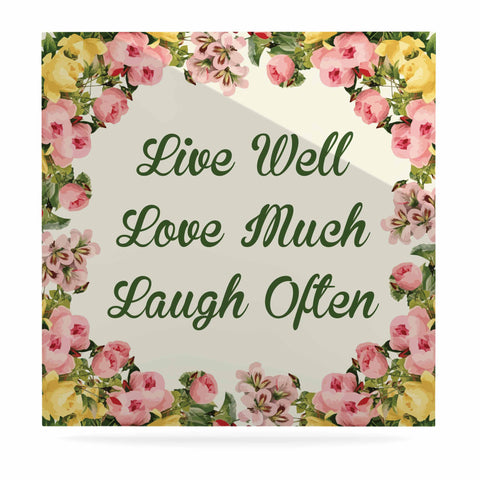 "NL Designs ""Live, Love, Laugh"" Floral Typography Luxe Square Panel - KESS InHouse  - 1"