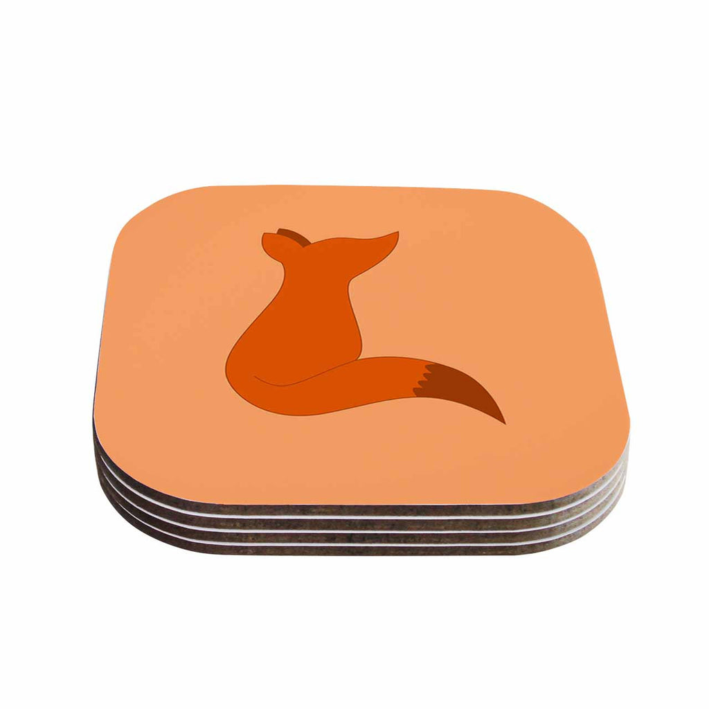 "NL Designs ""Fox"" Brown Orange Digital Coasters (Set of 4)"