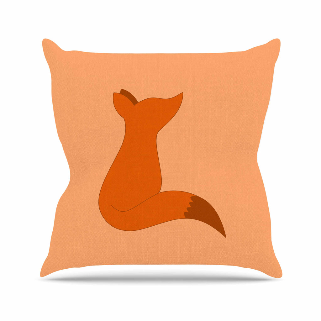 "NL Designs ""Fox"" Brown Orange Digital Outdoor Throw Pillow"