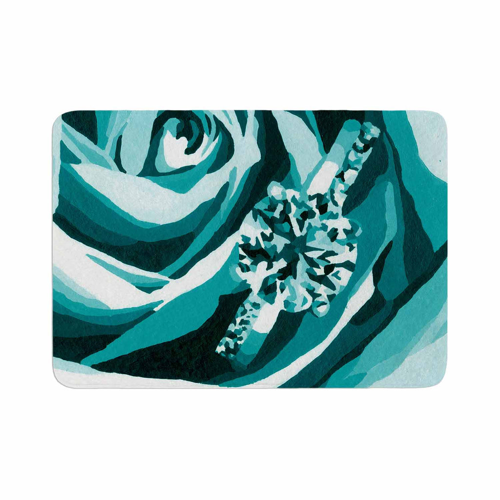"Nl Designs ""Happy Engagement Tiffany"" Teal White Memory Foam Bath Mat - KESS InHouse"