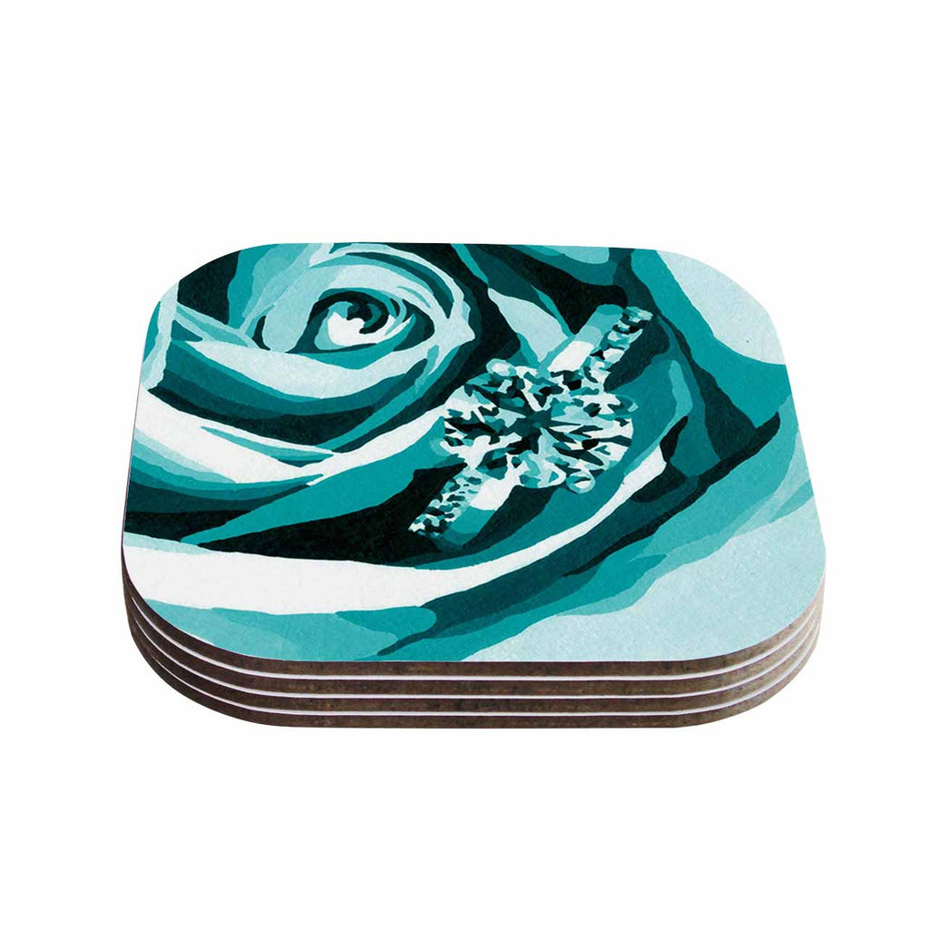 "Nl Designs ""Happy Engagement Tiffany"" Teal White Coasters (Set of 4)"