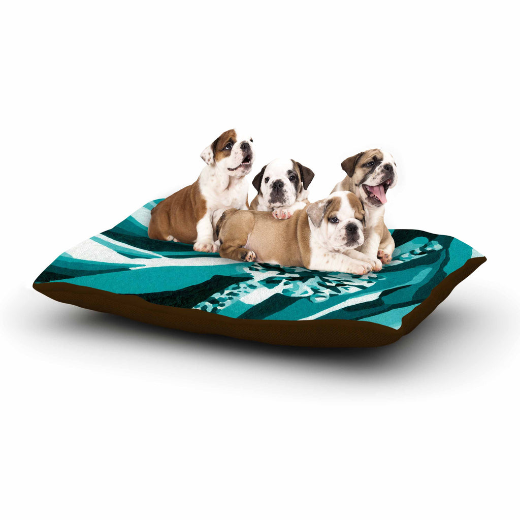 "Nl Designs ""Happy Engagement Tiffany"" Teal White Dog Bed - KESS InHouse  - 1"