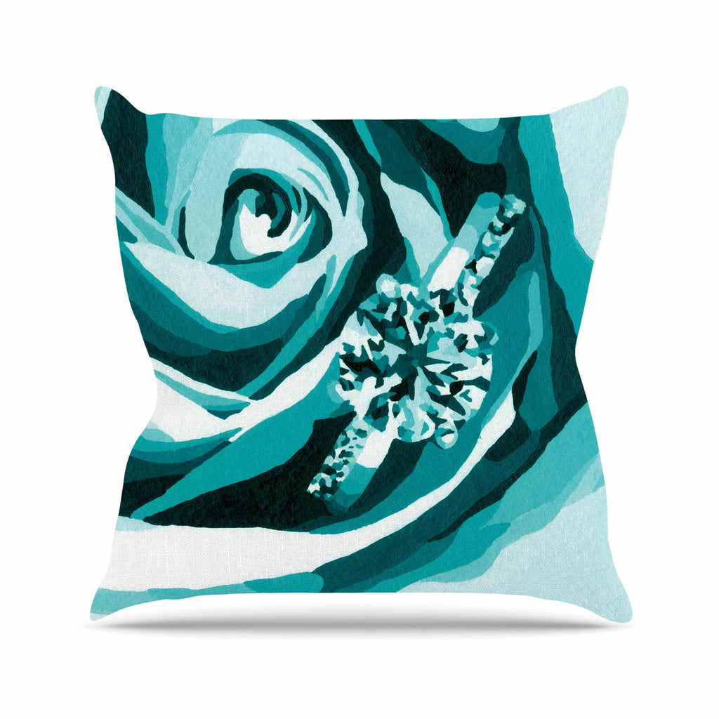 "Nl Designs ""Happy Engagement Tiffany"" Teal White Outdoor Throw Pillow - KESS InHouse  - 1"