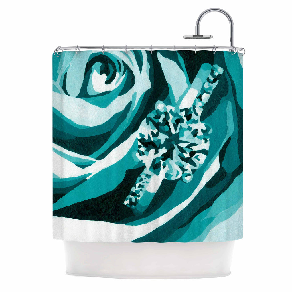 "Nl Designs ""Happy Engagement Tiffany"" Teal White Shower Curtain - KESS InHouse"